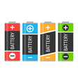 a set of four colorful batteries vector image vector image