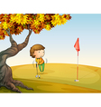A woman playing golf at the park vector image vector image