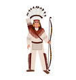 american indian man or warrior wearing war bonnet vector image
