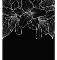 black-and-white background with lilies hand-drawn vector image vector image