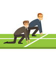 business people at starting line on a race vector image
