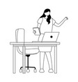 business woman book laptop on desk with chair vector image vector image
