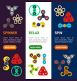 cartoon spinner toy banner vecrtical set vector image