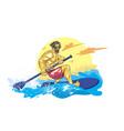 cartoon style boy on the supsurf paddle vector image