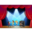 Children playing musical instrument on stage vector image vector image