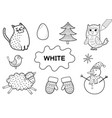 color elements in white coloring page vector image vector image