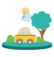 colorful taxi car service in the city with tree vector image vector image