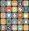 Computer flat icons on brown background vector image vector image