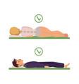 correct sleeping posture of man woman vector image