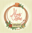 cowboy christmas wreath with western cowboy vector image vector image