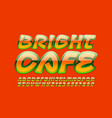 creative sign bright cafe with orange font vector image