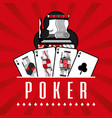 deck of card casino poker king clubs red rays vector image