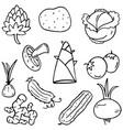 food set vegetable of doodles vector image vector image