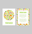 fresh farm vegetables banner templates set with vector image vector image