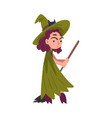 girl witch standing with broom wearing green cloak vector image vector image