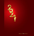 golden 2021 new year 3d logo banner copy space vector image vector image