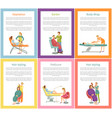 hair stylist and depilation posters set vector image vector image