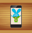 happy easter invitation with floral on smartphone vector image vector image