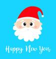 happy new year santa claus round head face merry vector image vector image