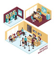 isometric bank office composition vector image vector image