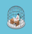 isometric businessman working in the birdcage vector image vector image