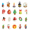 isometric christmas 3d decoration new year icons vector image