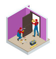 isometric handymans installing a white door with vector image vector image