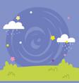 landscape clouds rain stars grass cartoon vector image