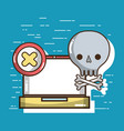laptop with skull with bones symbols vector image