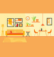 modern cozy living room and dining room with vector image