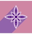 Modern flat icon with long shadow Indian flower vector image vector image