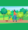 mother and son walking little dogs vector image