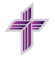 purple lutheran sign on a white background vector image vector image
