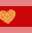 red background with golden glitter heart design vector image