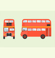 Red double-decker london bus icon in front and sid