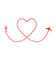 red plane and track as heart symbol valentine day vector image vector image