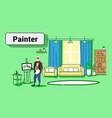 senior painter holding paintbrush man artist vector image