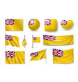 set niue realistic flags banners banners vector image vector image