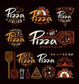 set pizzeria labels badges and design elements vector image vector image