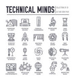 set technical minds thin line icons pictograms vector image