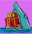 shark with a gift box holiday shopping christmas vector image