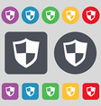 shield icon sign A set of 12 colored buttons Flat vector image vector image
