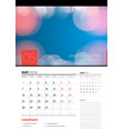 wall calendar planner template for may 2018 vector image