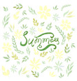 watercolor summer card with green leaves vector image vector image