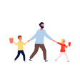 weekend with father man kids going to cinema dad vector image vector image