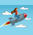 woman flying rocket pop art style vector image