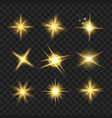 yellow shine stars with glitters sparkles icons vector image vector image