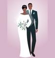 young afro couple of newlyweds wearing wedding vector image