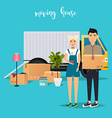 Young Couple Moving Moving truck and cardboard vector image