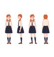 young redhead girl dressed in school uniform vector image